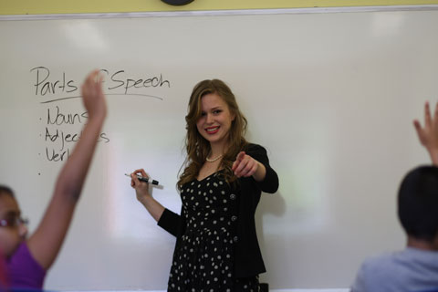 Teacher at whiteboard pointing to students who are raising their hands